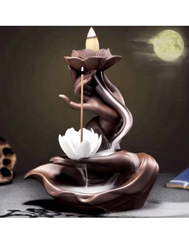 Backflow Incense Burner Hands With Flower And Lotus